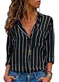 AitosuLa Chemisier Femme Blouse Rayures Col V Casual Mode Tunique Haut Top...