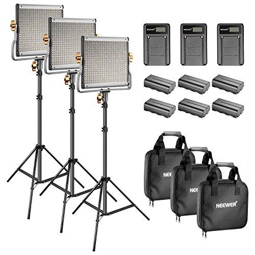 Neewer LED LUCE VIDEO Bicolore 480 3200-5600K, CRI 96+, Supporto da 190CM Batteria Caricabatterie...