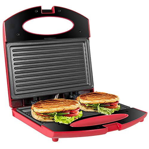OZAVO Tostiera,Tostapane Piastra 750W,Sandwich/Panini Maker,Piastre con Rivestimento Antiaderente