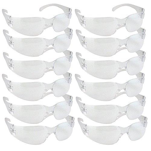 Pack de 12 gafas protectoras de seguridad resistentes a impactos y balísticos, con lentes transparentes en colores surtidos, multicolor