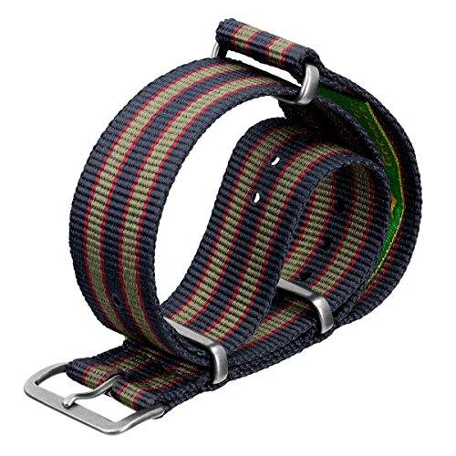 Cinturino Geckota in nylon, Militare NATO, Bond Vintage, Blu/Rosso/Verde, Argento Satinato, 20mm