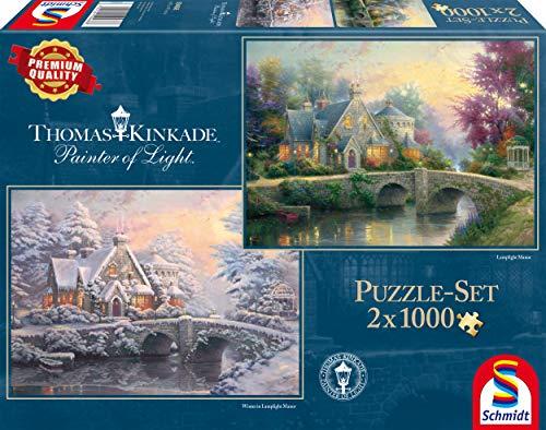 Schmidt Spiele Puzzle per Adulto: Lamplight Manor e Inverno a Lamplight Manor, 2x1000 pezzi