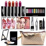Adbeni Combo Makeup Set (10-Color Eyeshadow,Eyeliner, Lip Balm 3Pcs, Kajal,Compact Powder,Lipstick & Gold Makeup Pouch) Pack of 13