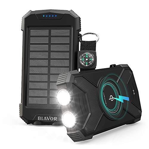 Power bank inalámbrico de10000mAh,Qi cargador batería externa,Luz LED portátil emergencia con puerto entrada tipo C(IPX4 a prueba salpicaduras,resistente a golpes,carga panel solar,entrada DC5V/2.1A)