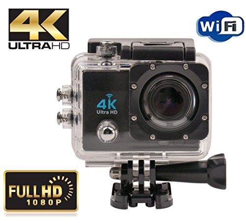 """Navline Cámara Deportiva de Acción 4K Videocámara Acuática Sumergible (2"""" LCD, Full HD 1080P, WiFi, Grand angular de 170°) - Negro"""