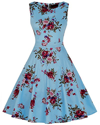 MWRRYA 50s Vestidos para Mujer Vintage Retro Rockabilly Clásico (Azul Claro,XXXL)