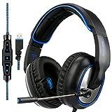 SADES R7 Gaming Headset, USB Headset Cuffie da gioco stereo per auricolari Over-Ear Supporta il suono surround virtuale a 7.1 canali con microfono retrattile EQ Bass Boost Button per PC e Mac (nero)