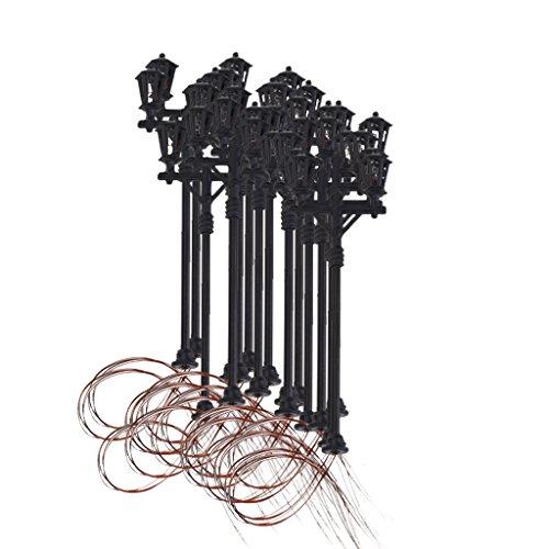 20pz Lampione Modello Lampada Luce A Teste Doppie Da Giardino Scala 1:100
