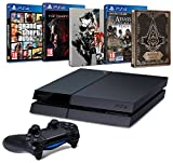 Pack PS4 500 Go + Metal Gear Solid V : The Phantom Pain + Assassin's Creed : Syndicate + GTA V + 2 Steelbook