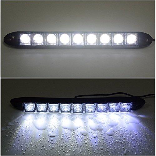 2x 9 Led Impermeabile Luci Diurne Daylight Running Light 12v LED DRL dell'automobile Luce Bianca...