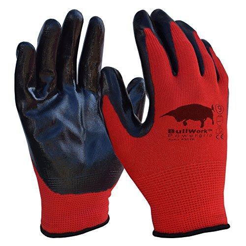 5 paia di Bullwork PowerGrip ad alta presa | guanti da lavoro misura 9 | copertura in gomma...