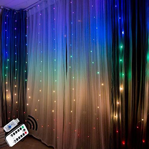 Tenda luminosa tenda di luci interno esterno catena stringa luminosa led freddo lucine rame estern...
