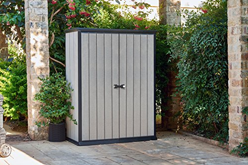 The Keter High Store Outdoor Plastic Shed provides ideal storage options for your various tools and equipment. Measuring 139.5 x 77 x 181.5 cm, the shed can hold your BBQ grills, bicycle, and small lawnmower among other things. The wood-look-alike shed is made of plastic and features ribbed double wall panels that can be painted according to your preference.