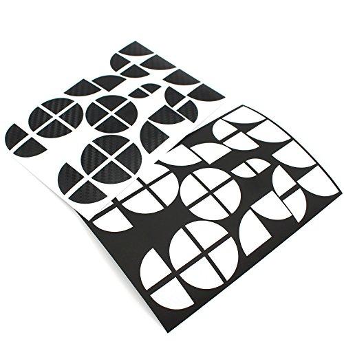 Finest-Folia 4D Carbonfolie Emblem Ecken Aufkleber (K004 Schwarz Weiß)
