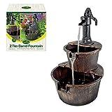 GardenKraft 20890 2-Tier Barrel Water Fountain with Pump - Bronze