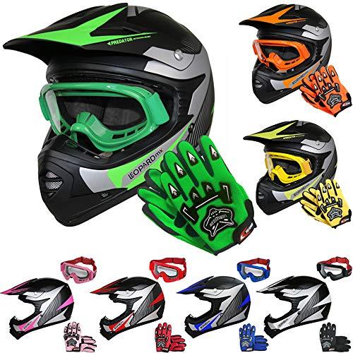 Leopard LEO-X19 Kinder Motocross MX Helm { Motorradhelm + Handschuhe + Brille} Grün XL (55cm) ECE Genehmigt Crosshelm Kinderquad Off Road Enduro Sport