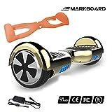 MARKBOARD 6,5zoll Hoverboard Elektro Scooter Selfbalance Scooter für Kinder, 700W Motor, Bluetooth Musik Lautsprecher (6,5Chrom Gold)