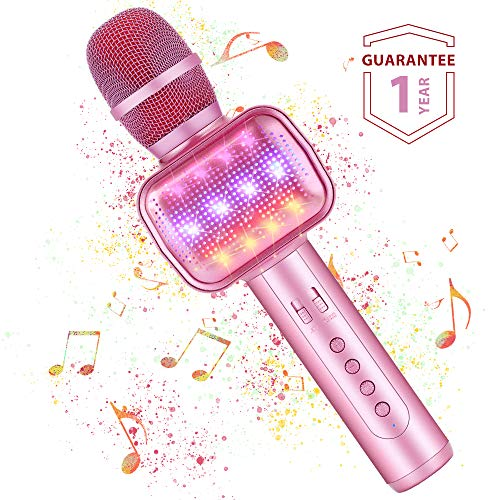 Microfono Karaoke Bluetooth Wireless Fede con Luci LED Multicolore, Effetti Vocali e Eco Karaoke...