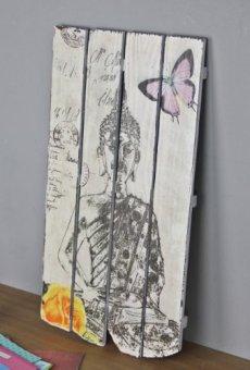 elbmöbel.de – Lienzo decorativo (60 cm, madera), diseño de Buda, color blanco y negro