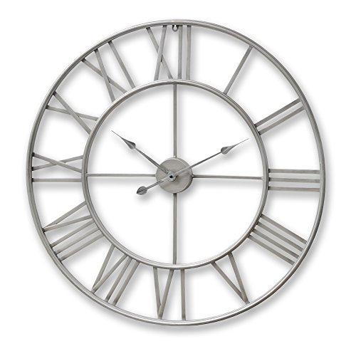 HIL Grande stile shabby chic invecchiato 80cm sagomato nichel argento scheletro orologio da parete...