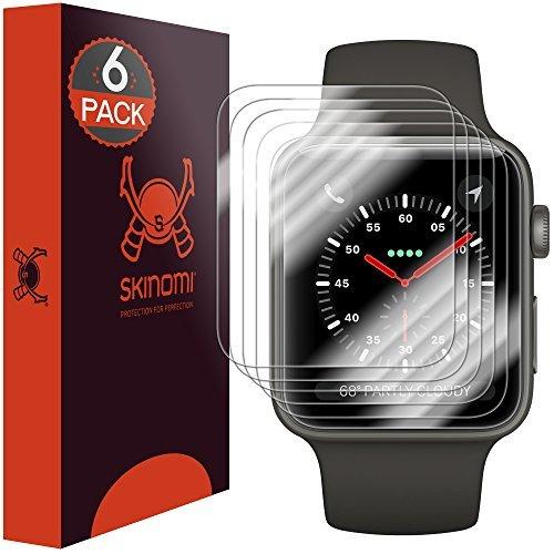Skinomi TechSkin, pellicola protettiva per Apple Watch (42 mm). Compatibile con Apple Watch Serie 3, Serie 2 und Serie 1. Impermeabile, 6 pezzi