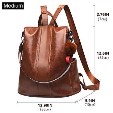 Paradox Girl's Water Resistant Vegan Leather Anti-Theft School Shoulder Backpack Bag (Black) 3