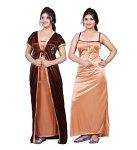 Bailey Women's Satin Combo Of Night Dress (Bailey0151_Brown_Free Size)