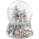 WeRChristmas Snowman and Christmas Tree Snow Globe Christmas Decoration, 14 cm - Multi-Colour