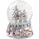 WeRChristmas Snowman and Christmas Tree Snow Globe Christmas Decoration, 14 cm - Multi-Colour
