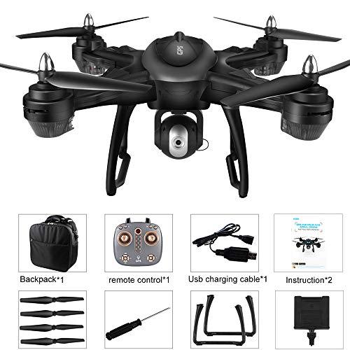 Bescita LH-X38G - Drone quadricottero Doppio GPS FPV con Fotocamera HD 1080 P con Batteria Lipo 7,4 V 2500 mAh, Pieghevole, RC Quadcopter Drone con Zaino (Nero)