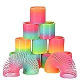 Bememo 12 Pièces Rainbow Spring Arc-en-Magique Printemps Coloré Magic Spring Mini Couleur pour Remplisseuses de Sac de Fête Jouet, Plastique