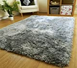 Zeff Furnishing Polyester Anti Slip Shaggy Fluffy Fur Rugs and Carpet for Living Room, Bedroom (Grey, 3x5 feet)