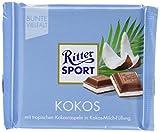RITTER SPORT Kokos (12 x 100 g), Vollmilch-Schokolade mit Kokos gefüllt, tropische Kokosraspeln in köstlicher Kokos-Milchcreme-Füllung, exotische Note