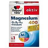Doppelherz Magnesium 400 + B1 + B6 + B12 + Folsäure - Magnesium für die Muskeln, das Nervensystem und den Energiestoffwechsel - 1 x 30 Tabletten