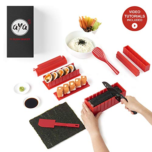 Sushi kit - Sushiaya da sushi Maker Deluxe rosso completo con coltello e esclusiva online video...