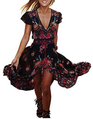 1184dccab67 Evedaily Femme Robe d été Bohême Maxi Robe Imprimé Floral Col V ...