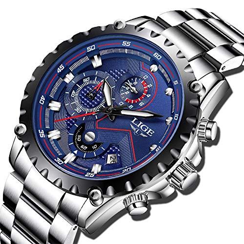 LIGE Uomo Orologi, orologi analogico al quarzo sportivo da uomo in acciaio inossidabile, orologio cronografo classico da orologio blu da uomo, moda orologio da polso impermeabile