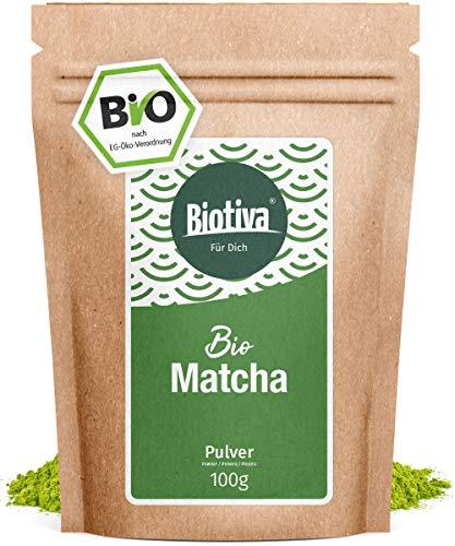 Bio Matcha-Tee (100g) - Original Matchapulver - Tee, Latte, Smoothies - hochwertigster Biomatcha - 100{bef637a0f358a9edcdc980728e026f8bf66d11e35c78d85858aa44842edd40f5} nachhaltiger Anbau - Abgefüllt und kontrolliert in Deutschland (DE-ÖKO-005) - GP: € 10,90/ 100g