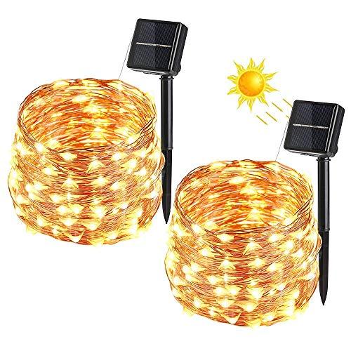 Catena Luminosa Solare, VegaHome 2 Pezzi 100 LED Stringa Luci Solari Impermeabile Luci Decorative da...