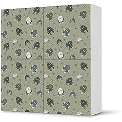 Möbelfolie selbstklebend für IKEA Besta Schrank Quadratisch 4 Türen | Poster Design Möbel-Aufkleber Folie | Inneneinrichtung stylen Moderne Deko | Design Motiv Robots - Braungrau