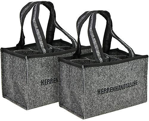 com-four® 2X Herrenhandtasche, Filztasche, Flaschentasche aus Filz für 6 Flaschen bis 0,5 L, grau/schwarz, 24 x 15 x 15 cm (02 Stück - Filz)