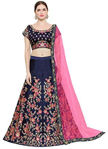 KEDARFAB Women's Taffeta Silk Lehenga Choli with Blouse Piece (Blue Pink, Free Size)