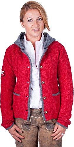 Almwerk Damen Strick Jacke Antonia mit Abnehmbarer Kapuze in Verschiedenen Farben, Größe Damen:4XL - Größe 48;Farbe:Rot/Grau