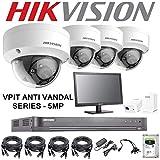Hikvision Kit de caméra de vidéosurveillance 5 MP DVR 4 K 1 to H.265+ HIK 5 MP 2,8 mm Anti-vandale