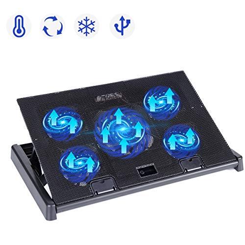 slopehill Base di Raffreddamento per Notebook - 5 Silenziose e Luce LED - 2 Porte USB 2.0 -...