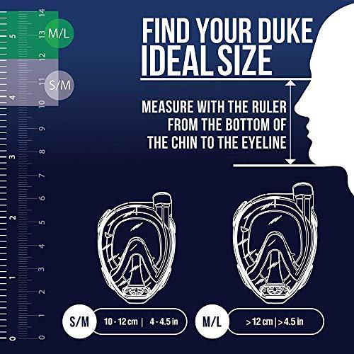 Cressi Duke Full Face Mask, Maschera Integrale Grande Visione Snorkeling con Tubo Dry Unisex Adulto, Trasparente/Nero, M/L