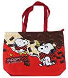 Red Snoopy and Woodstock Chocolate Bars Large Tote Canvas Bag by Peanuts