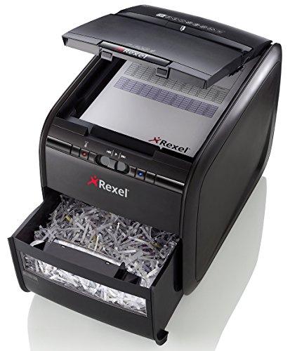Rexel Auto+ 60X - Destructora de papel con alimentación automática (corte en confeti, cuchilla autolimpiable, 15 litros), color negro