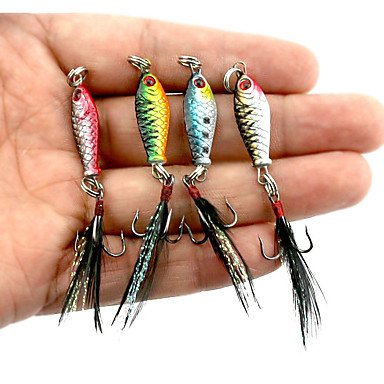 Ty 4pezzi di metallo esche esche da pesca esche metallo esche colori assortiti g/oncia ,25mm/2,5cm pollici, piombo Metalsea esca per la pesca casting spinning