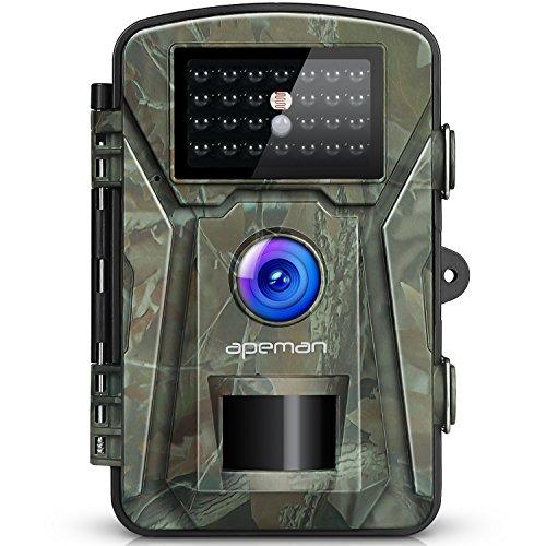apeman Wildkamera 12MP 1080P mit Infrarot-Nachtsicht bis zu 65 Fuß/20 m IP66 Spray Wasserdicht für Outdoor-Natur, Garten, Haussicherheitsüberwachung Grün